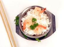Rice and prawns1 Royalty Free Stock Photos