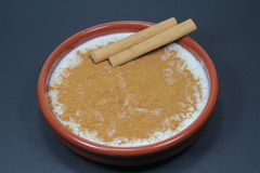 Rice pudding. Bowl of rice with milk and cinnamon Royalty Free Stock Photography