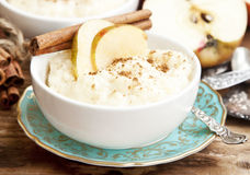 Rice Pudding with Apple and Cinnamon Royalty Free Stock Images