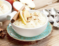 Rice Pudding with Apple and Cinnamon Stock Images