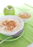 Rice pudding with applesauce Royalty Free Stock Photo