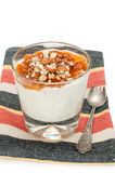 Rice pudding with apricot jam in the galss Royalty Free Stock Photography