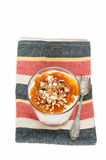 Rice pudding with apricot jam in the galss Stock Photo