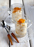 Rice pudding with apricots Royalty Free Stock Photos
