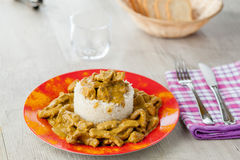 Rice pudding with beef curry Stock Image