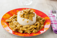 Rice pudding with beef curry. Served in a dish Stock Images