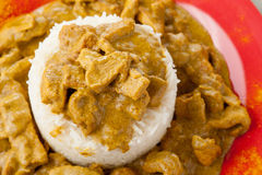 Rice pudding with beef curry Royalty Free Stock Photo