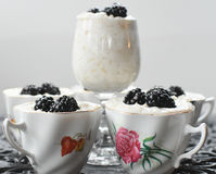 Rice Pudding with Blackberries Stock Image