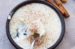 Rice pudding. Blue bowl of rice pudding and cinnamon royalty free stock image