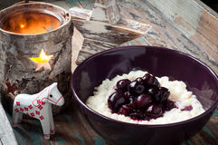 Rice pudding and blueberries royalty free stock photography