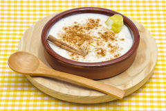 Rice pudding in a ceramic bowl Royalty Free Stock Photography