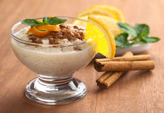 Rice Pudding with Cinnamon Stock Photo