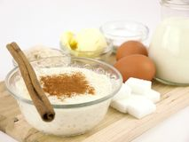 Rice pudding with cinnamon and all the ingredients Stock Photos