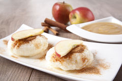 Rice pudding with cinnamon and apple sauce Royalty Free Stock Photography