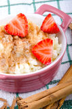Rice pudding with cinnamon and sugar Royalty Free Stock Images