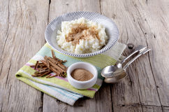 Rice pudding with cinnamon and sugar Royalty Free Stock Image
