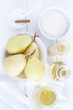 Rice pudding dessert ingredients Stock Photo