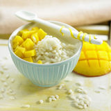 Rice pudding with diced mango Stock Photo