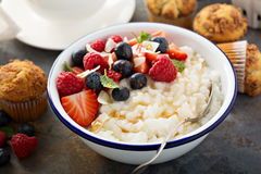 Rice pudding with fresh berries and coconut for breakfast. Rice pudding with fresh berries and coconut flakes for breakfast Royalty Free Stock Photo