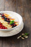 Rice pudding with fresh fruits Royalty Free Stock Image