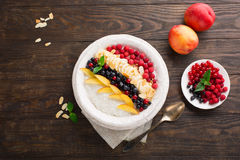 Rice pudding with fresh fruits Royalty Free Stock Images