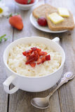 Rice pudding with fresh strawberry Stock Photography