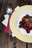Rice Pudding with fruit sauce Stock Image