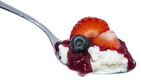 Rice Pudding with fruits on a spoon Royalty Free Stock Photos