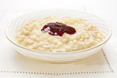 Rice Pudding with Jam Stock Photos