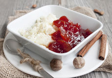 Rice pudding with jam Stock Photography