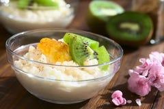 Rice Pudding with Kiwi and Orange Jam Stock Photos
