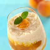 Rice Pudding with Peach Compote Royalty Free Stock Photos