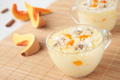 Rice pudding with pumpkin and cinnamon Stock Images