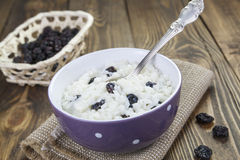 Rice pudding with raisins Royalty Free Stock Images
