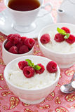 Rice pudding with raspberries Stock Photography