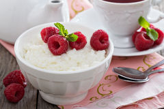 Rice pudding with raspberries Royalty Free Stock Image
