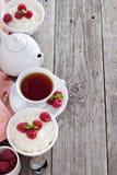 Rice pudding with raspberries Stock Photo