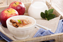 Rice pudding with syrup and berries Royalty Free Stock Photo