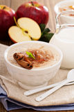 Rice pudding with syrup and berries Royalty Free Stock Image