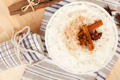 Rice pudding top view. Stock Image