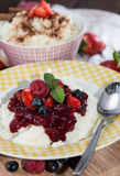 Rice Pudding topped with fresh fruits Stock Photography