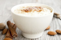 Rice Pudding With Cinnamon Powder Royalty Free Stock Photos