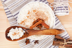 Rice pudding with wooden spoon. Royalty Free Stock Photos