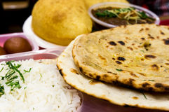 Rice, pulses, flat bread north indian meal. Rice, pulses (dal), Flat bread (roti nan) served together for a typical north indian meal Stock Photos