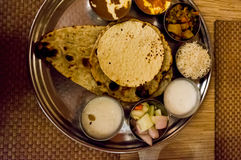 Rice, pulses, flat bread north indian meal Stock Images