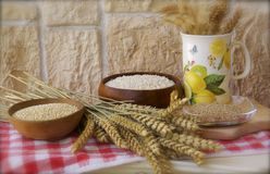 Rice, quinoa and gommasio. Carnaroli rice, quinoa and gommasio Royalty Free Stock Images