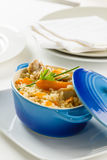 Rice with rabbit meat Stock Photo