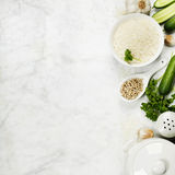 Rice and raw fresh vegetables Royalty Free Stock Images