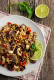 Rice with  red bean, mushrooms and vegetables Stock Images