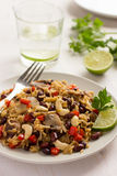 Rice with  red bean, mushrooms and vegetables Stock Image